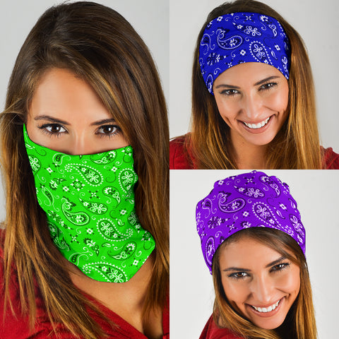 Neck Gaiter Face Mask Classic Bandana Design 3-Pack Purple, Green, Blue