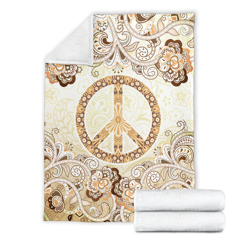Hippie Floral Peace Blanket