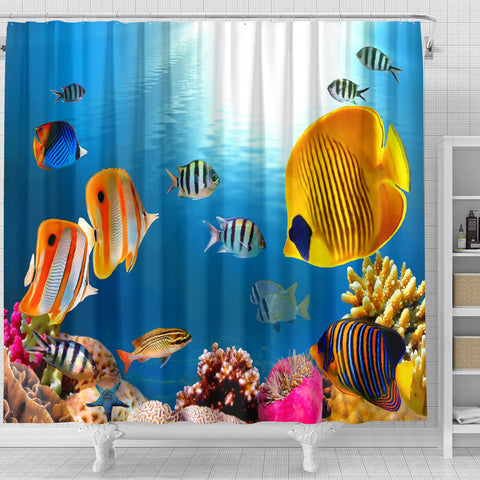 Image of Yellow Fish Shower Curtain