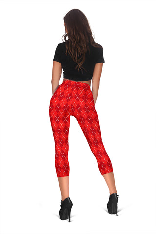 Image of Red Argyle Womens Capris