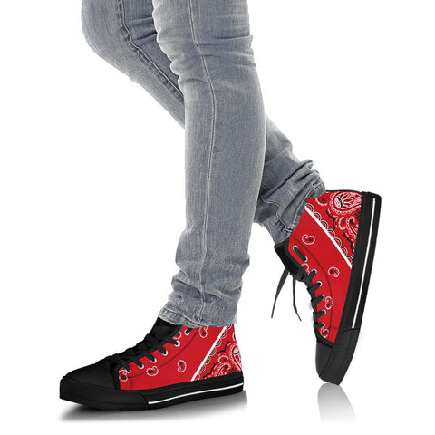 No Box Classic Red Bandana High Top Sneakers