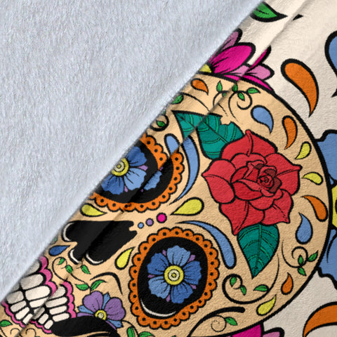 Flower Sugar Skull Throw Blanket