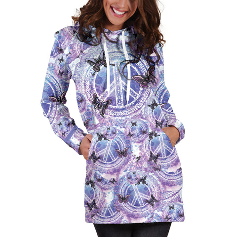 Image of Peace Butterfly Hoodie Dress