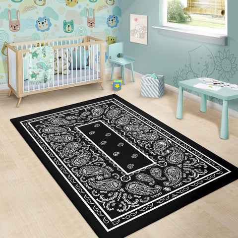 Image of Black Bandana Area Rugs - Fitted