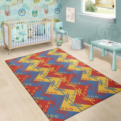 Image of Zigzag Design in Muted Red, Blue and Yellow Area Rug
