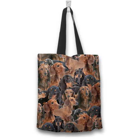 "Dachshund 16"" Tote Bag - Spicy Prints"