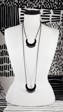 HAMMERED CRESCENT BIB WITH DANGLES NECKLACE (MEDIUM & LONG) - Matte Black, and Matte Silver