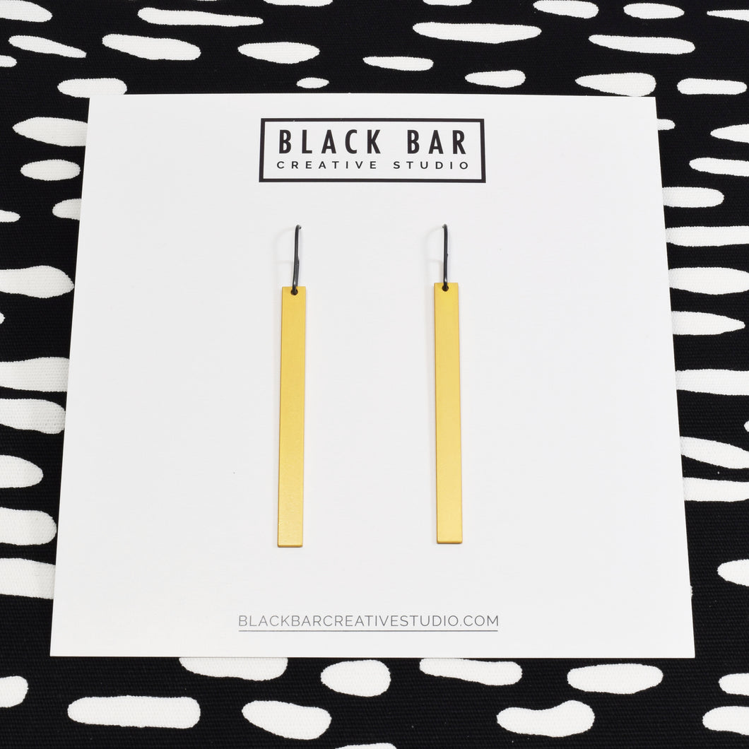 RECTANGLE DANGLE EARRINGS - Matte Black, Matte Gold, and Matte Silver