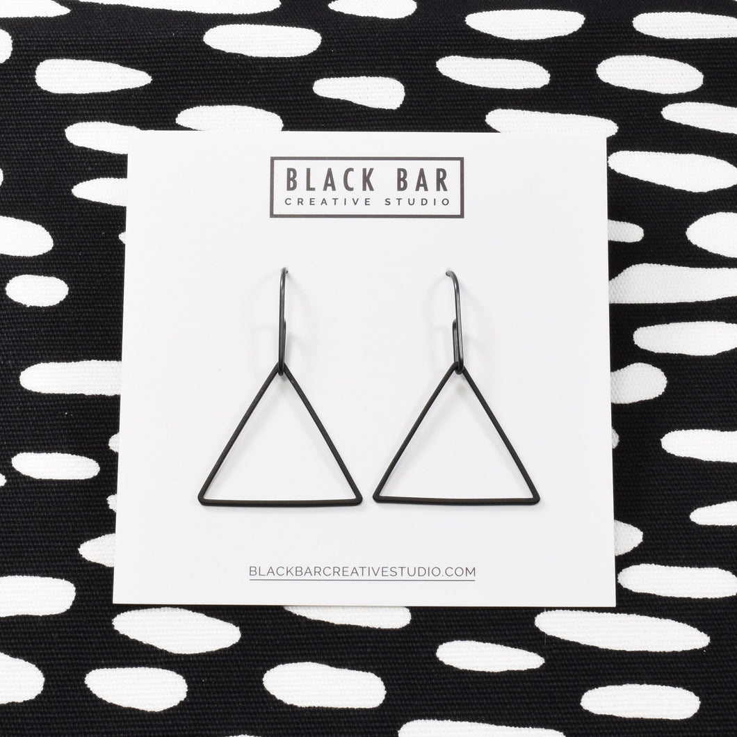 TRIANGLE WIRE DANGLE EARRINGS - Matte Black, Matte Gold, and Matte Silver