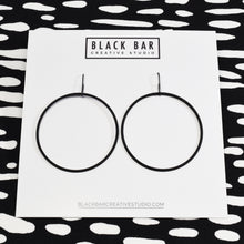 ROUND WIRE CIRCLE DANGLE EARRINGS - Matte Black, and Matte Silver