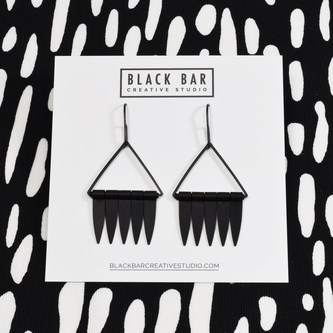 TRIANGLE FRINGE DANGLE EARRINGS