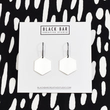 HEXAGON DANGLE EARRINGS - Matte Gold, and Matte Silver