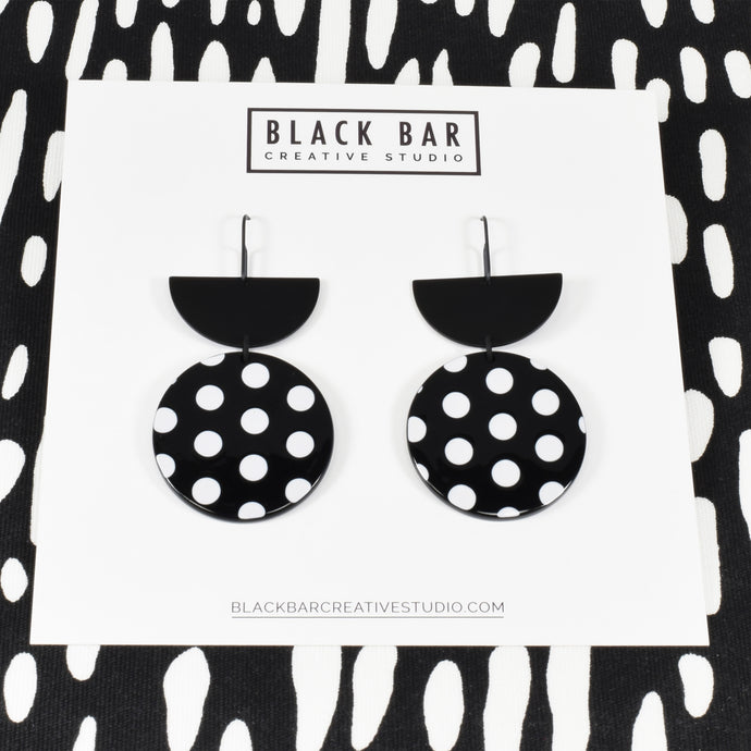 HALF DISC ROUND DANGLE EARRINGS