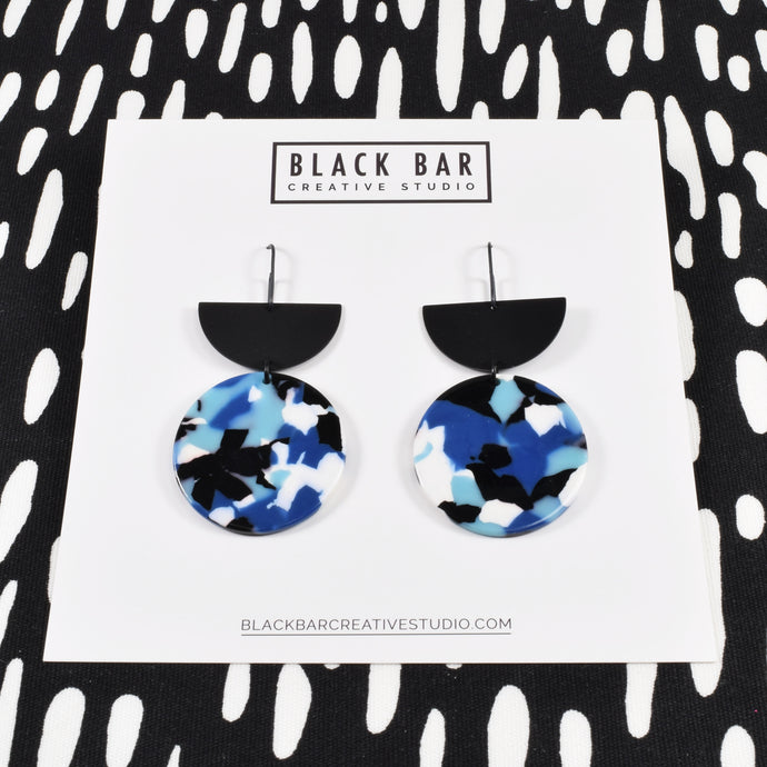HALF DISC ROUND DANGLE EARRINGS - Available in various colors