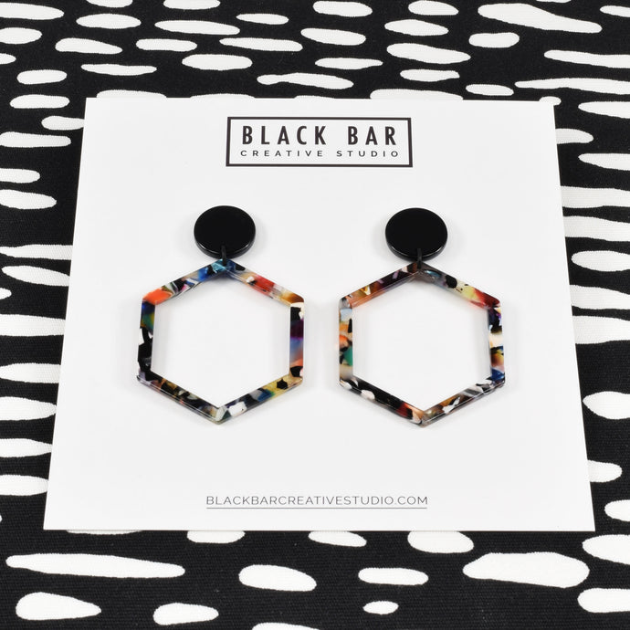 HEXAGON DANGLE EARRINGS - LARGE - Available in various colors