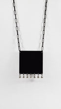 SQUARE BIB WITH DANGLES NECKLACE - Matte Black with Gold, and Matte Black with Silver