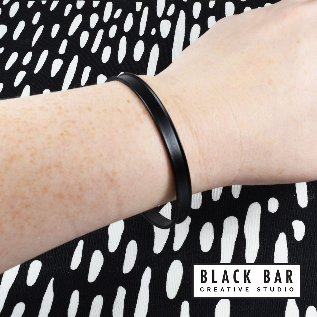 BLACK POWDER COATED BRACELETS - Available in 3 widths