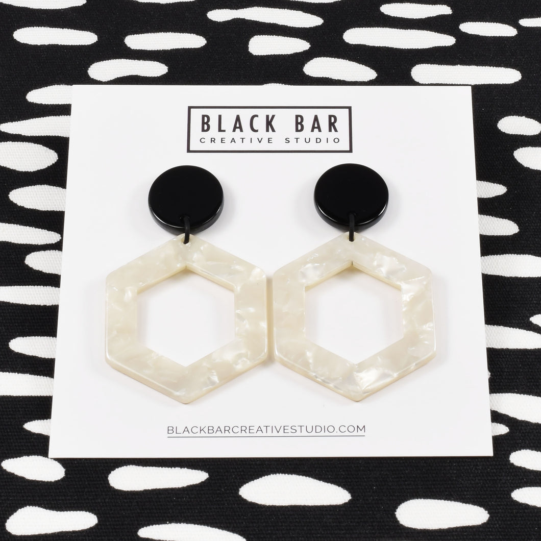 HEXAGON DANGLE EARRINGS - MEDIUM