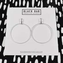 SQUARE WIRE CIRCLE EARRINGS (LARGE) - Matte Gold, and Matte Silver
