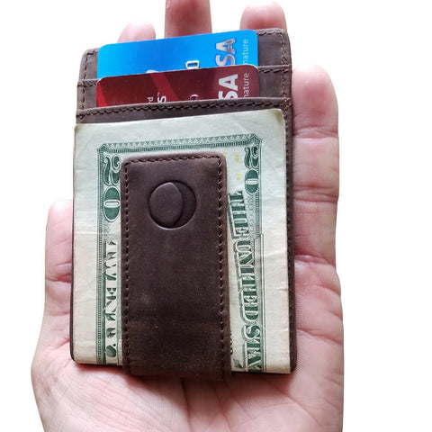 Idclipz Leather Money Clip Wallet - Ultra Slim Magnetic Design - Secure RFID Blocking Travel Technology - Distressed Brown