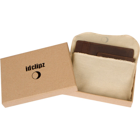 Idclipz Premium Leather RFID Money Clip Wallet - Distressed Brown
