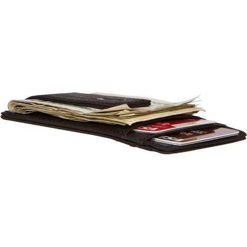 Idclipz Premium Leather RFID Money Clip Wallet - Jet Black
