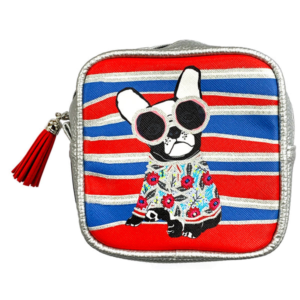 Frenchie With Stripes Cosmetic Pouch