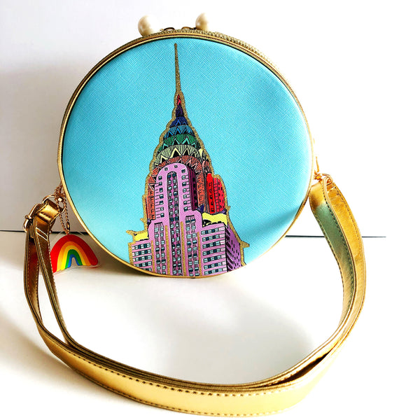 Rainbow Chrysler Building Crossbody Bag