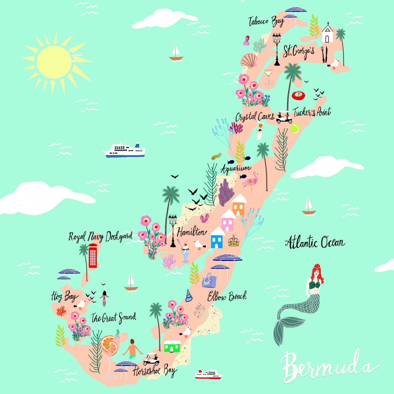 "Bermuda Map ~ 12x12"" Square"