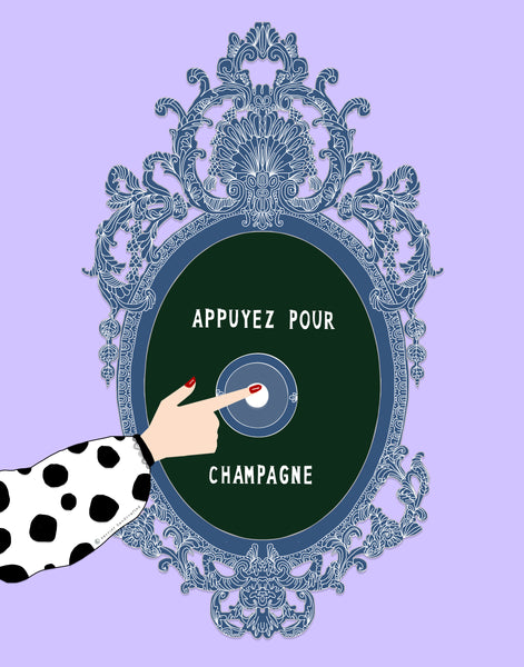 """Appuyez Pour Champagne""; Lilac Background (GREETING CARD)."
