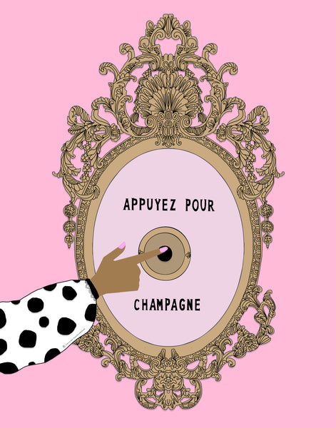 """Appuyez Pour Champagne""; Pink Background (GREETING CARD)."