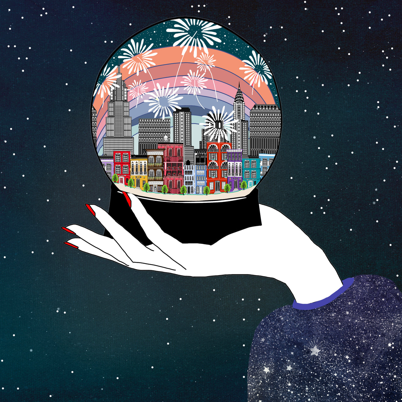 New York City Firework Snow Globe (PRINT)
