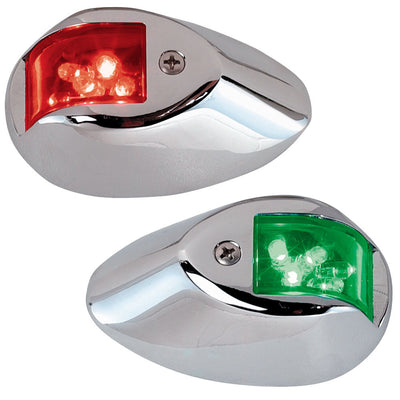 Perko LED Sidelights - Red Green - 12V - Chrome Plated Housing
