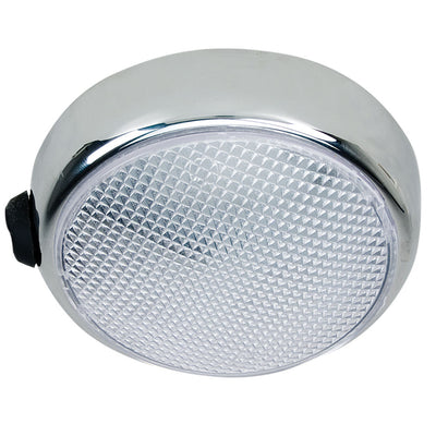 Perko Round Surface Mount LED Dome Light - Chrome Plated - w/Switch