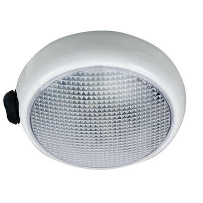 Perko Round Surface Mount LED Dome Light - White Powder Coat - w/ Switch
