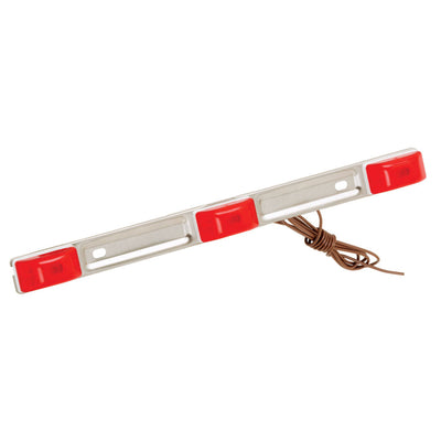 Wesbar Red Waterproof ID Light Bar - Stainless Steel - White Base