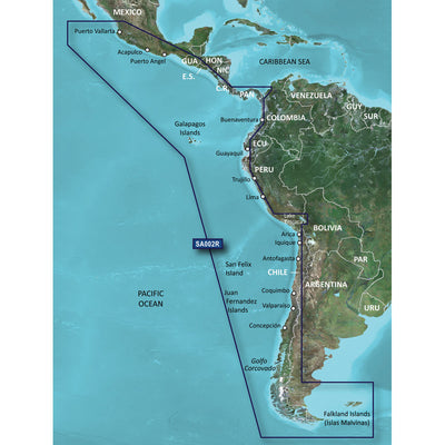 Garmin BlueChart reg g2 Vision reg HD - VSA002R - South America West Coast - microSD trade SD trade