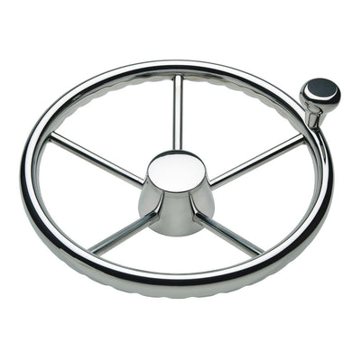 Ongaro 170 13.5 Stainless 5-Spoke Destroyer Wheel w Stainless Cap and FingerGrip Rim - Fits 3 4 Tapered Shaft Helm