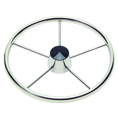 Ongaro 170 13.5 Stainless 5-Spoke Destroyer Wheel w Black Cap and Standard Rim - Fits 3 4 Tapered Shaft Helm