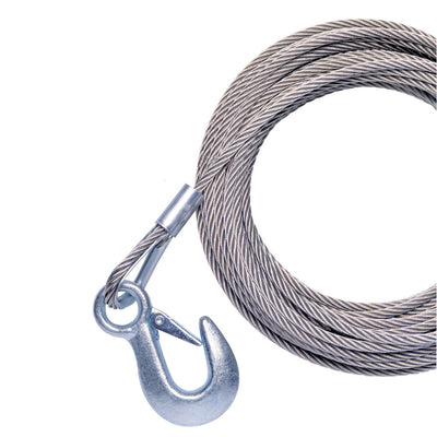 Powerwinch 40' x 7 32 Replacement Galvanized Cable w Hook f RC30, RC23, 712A, 912, 915, T2400 AP3500