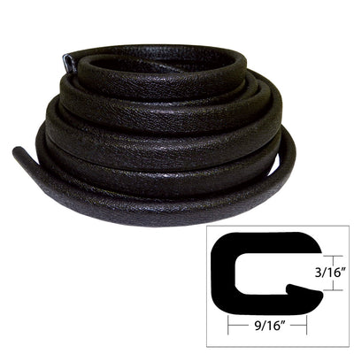 TACO Flexible Vinyl Trim - 5 32 Opening x 9 16 W x 25'L - Black