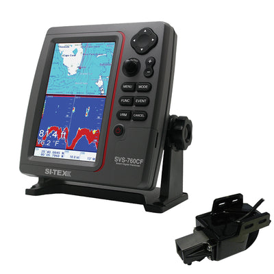 SI-TEX SVS-760CF Dual Frequency Chartplotter Sounder w/Navionics+ Flexible Coverage & Transom Mount Triducer