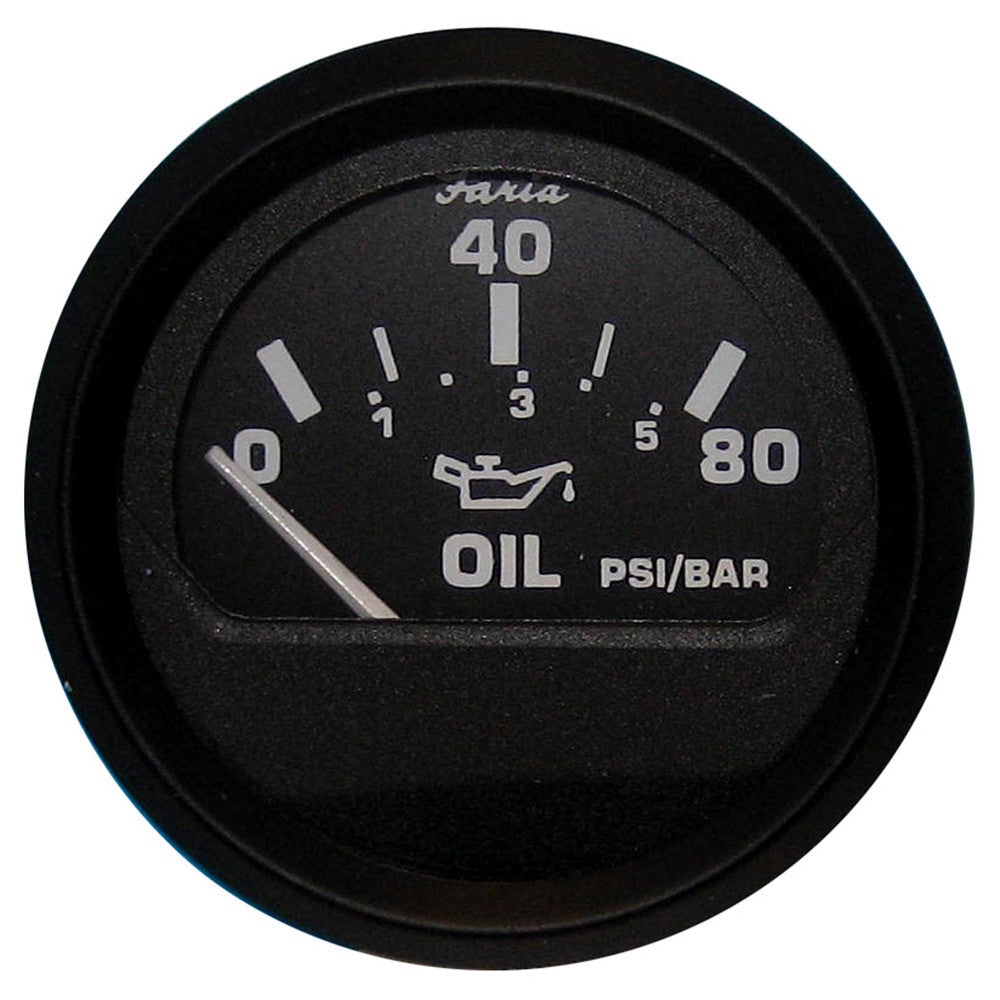 Faria Euro Black Oil Pressure Gauge - 80 PSI