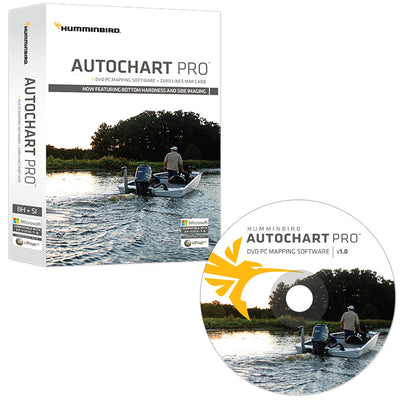 Humminbird AutoChart PRO DVD PC Mapping Software w Zero Lines Map Card