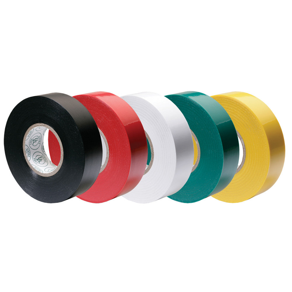 Ancor Premium Assorted Electrical Tape - 1 2 x 20' - Black Red White Green Yellow