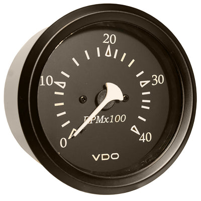 VDO Allentare Black 4000RPM 3-3 8 (85mm) Diesel Tachometer (Alternator) - 12V - Black Bezel