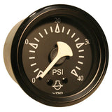 VDO Allentare Black 40PSI Mechanical Water Pressure Gauge - Black Bezel
