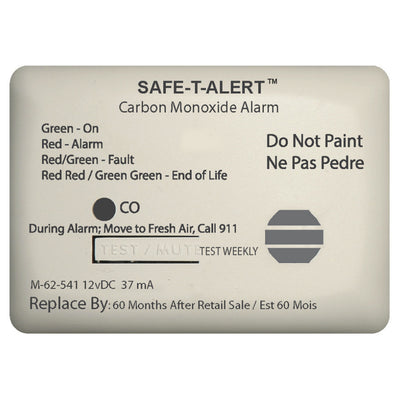 Safe-T-Alert 62 Series Carbon Monoxide Alarm w/Relay - 12V - 62-541-Marine-RLY-NC - Surface Mount - White