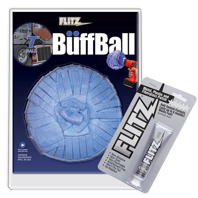 Flitz Buff Ball - Extra Large 7 - Blue w 1.76oz Tube Flitz Polish