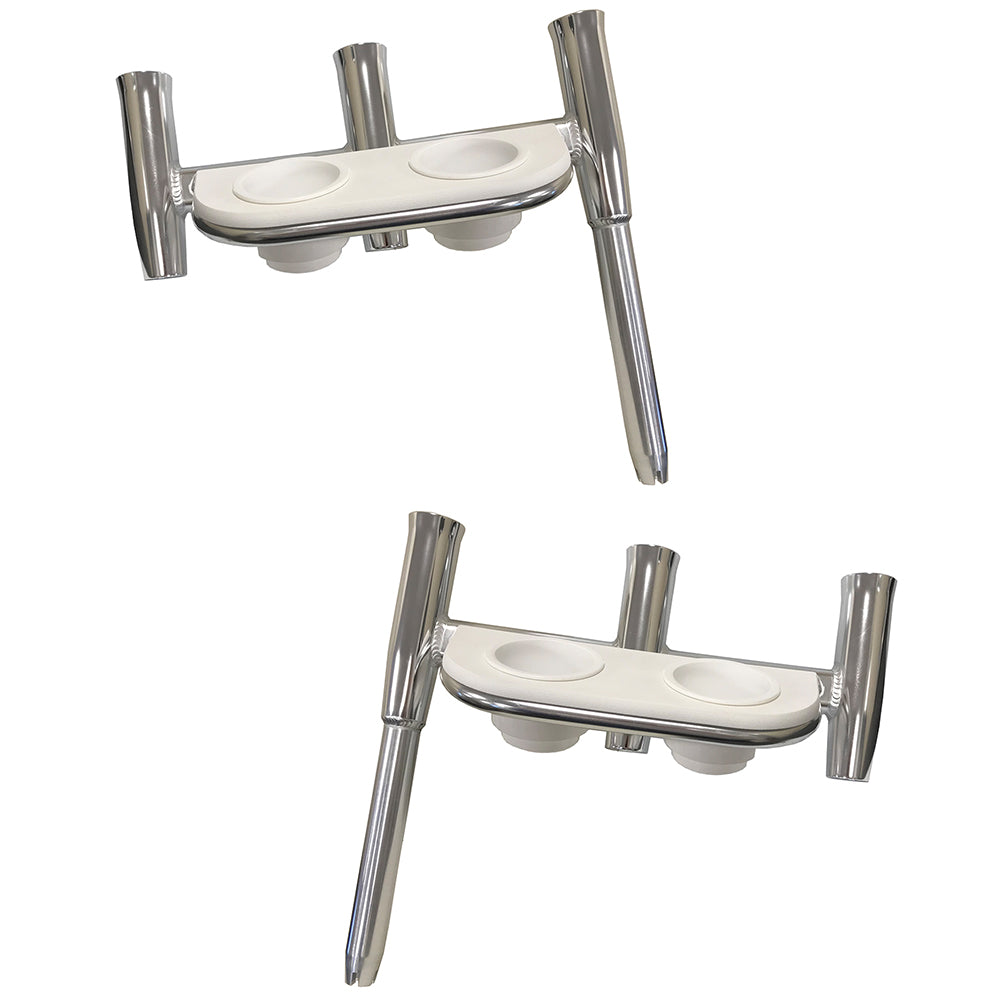 Tigress Offset Triple Rod Holder w/Cup Holders - Port Side & Starboard Side - Polished Aluminum